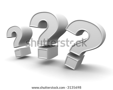 Three signs on a question. 3d - stock photo