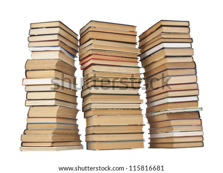 three Stack of Books on white background