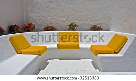 three yellow seats - stock photo