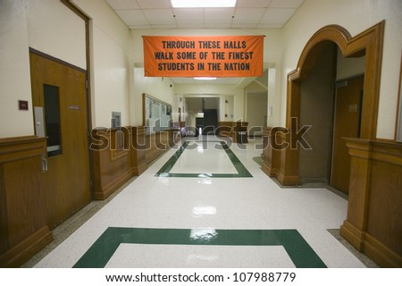 """Through these halls walk some of the finest students in the nation"", a sign in Webster Groves High School, Webster Groves, Missouri"
