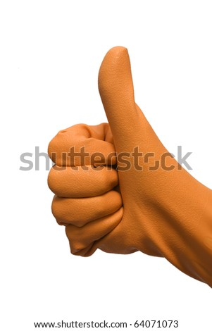 thumb up hand with rubber glove - stock photo