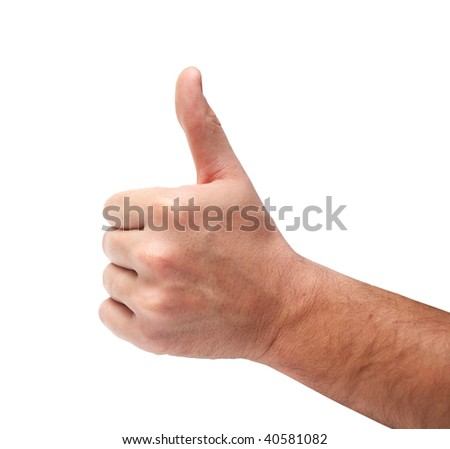 Thumb-up sign close-up isolated over white background - stock photo