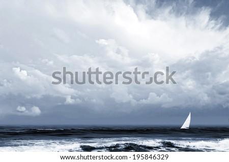thunder, storm, yacht - stock photo