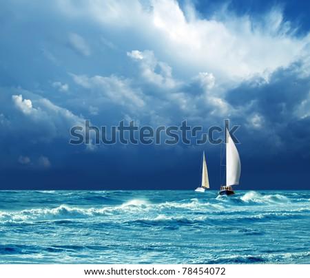 thunder, storm, yachts - stock photo