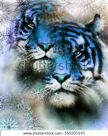 tiger collage on color abstract  background and mandala with ornament,  painting wildlife animals - stock photo