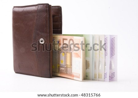 tightly  stuffed purse isolated on white background - stock photo