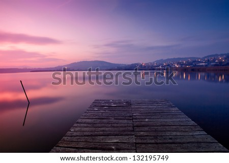 Tihany with the inner lake at night from Hungary - stock photo