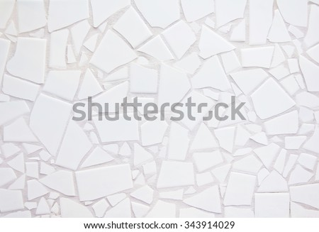 Tile Mosaic on wall. white color
