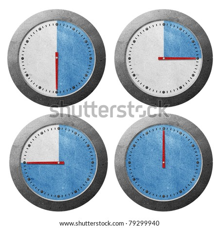 Time counter clock recycled paper craft stick on white background - stock photo