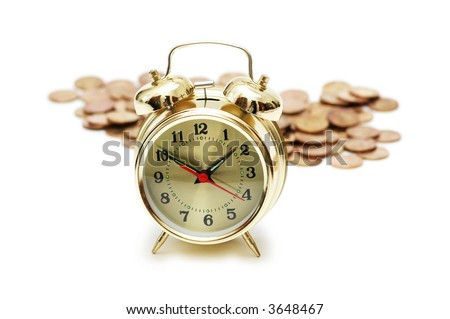 """""""Time is money"""" concept with clock and coins - stock photo"""