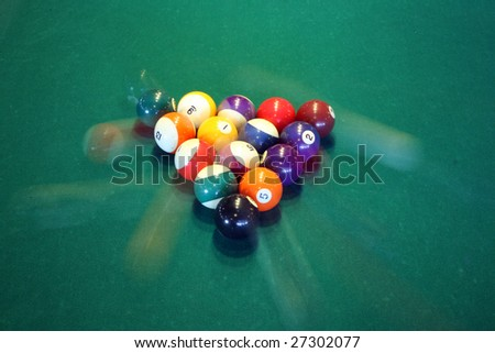 """time laps"" aka ""bulb exposure"" of pool balls in movement - stock photo"
