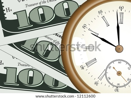 """time - money"" concept - pocket watch on one hundred dollars background - stock photo"
