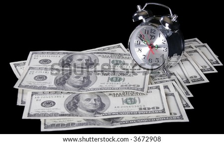 """""""time - money"""" concept - pocket watch on one hundred dollars background - stock photo"""