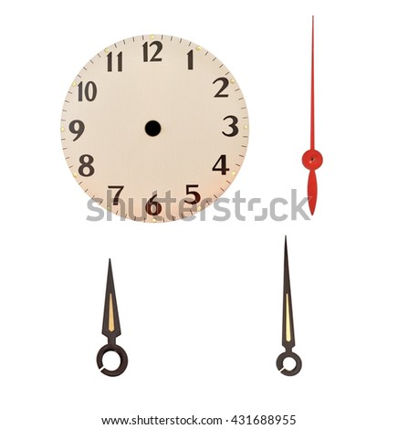 time on vintage clock Part of a clock  - stock photo