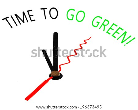 time to go green with clock concept - stock photo
