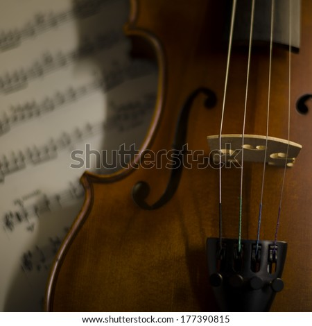 """""""time to practice violin"""" violin with sheet music on vintage style - stock photo"""