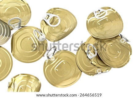 Tin can lids with opener on white - stock photo