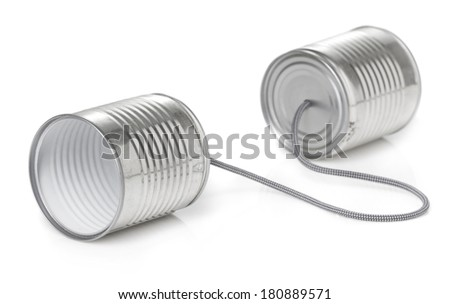 tin can phone - stock photo