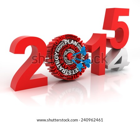 2014 to 2015 business target, 3d render, with clipping path - stock photo
