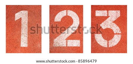 1 to 3 ,Numbers on red running track - stock photo