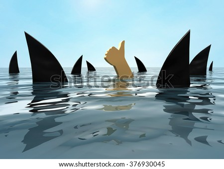 To stay afloat. The human hand protruding out of the water with a raised thumb among the sharks. 3d illustration - stock photo