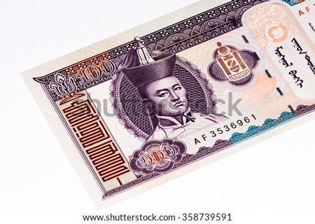 100 togrog bank note. Togrog is the national currency of Mongolia