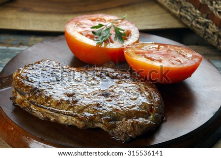 tomato and steak - stock photo