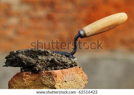 Tool  shovel  cement - stock photo