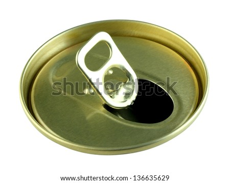 top view beer can on white background - stock photo