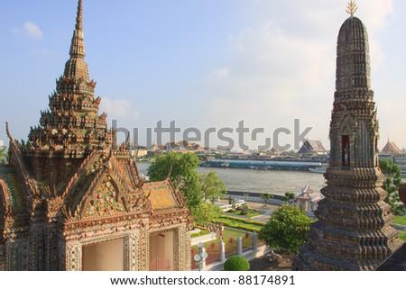 top view from pagoda of wat arun landmark of bangkok thailand - stock photo
