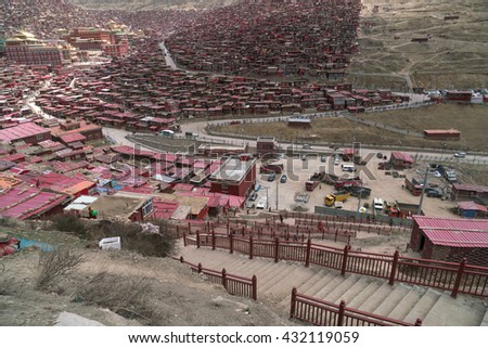Top view monastery at Larung gar (Buddhist Academy) in sunshine day, Sichuan, China