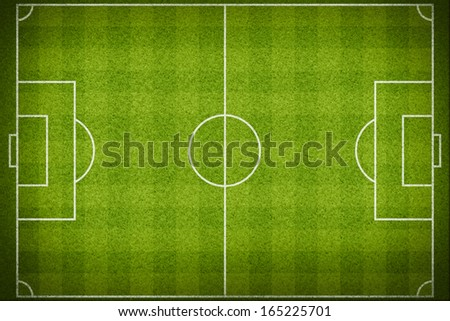 Top view of stripped soccer field. (org. size: 2999x2000 px) - stock photo