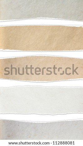 Torn paper textures background, isolated on white (Save Paths For design work) - stock photo
