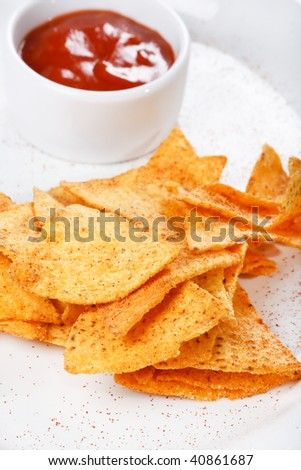 tortilla chips with hot salsa mexicana - stock photo