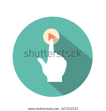touch icon flat style  for web and mobile  hand and  pressed finger  - stock photo