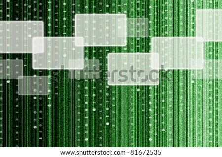 touch screen interface with digital matrix background - stock photo