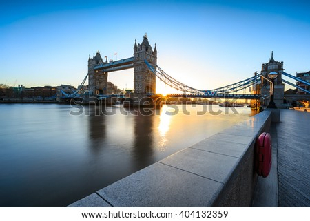 Tower Bridge  at sunrise in London, England. - stock photo