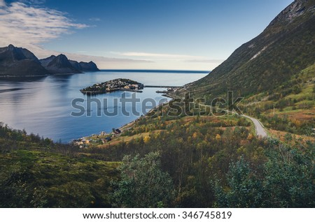 town of Husoy, Senja Norway - stock photo