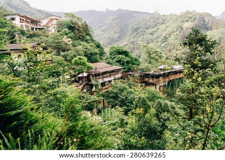 Traditional Chinese Building on mountain top, Taiwan