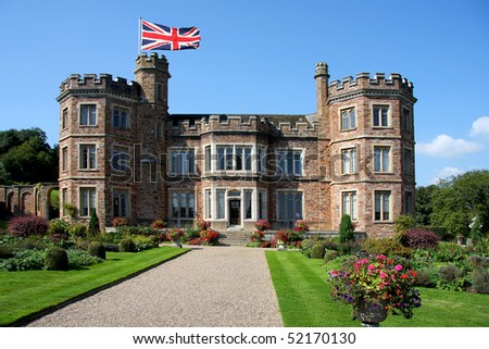traditional english castle, Mount Edgcumbe, Plymouth, Uk - stock photo