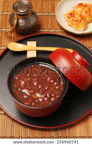 Traditional Japanese Dessert - Red bean sweet soup - stock photo