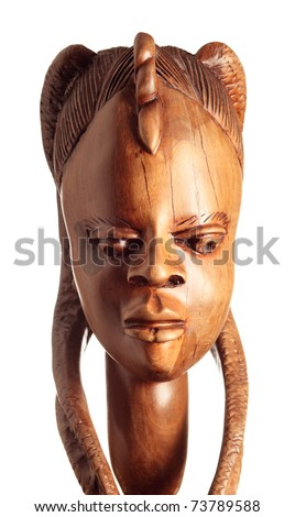Traditional wooden sculpture from Africa. Nigeria.