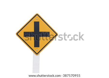 4 Traffic Intersection sign isolated on white background - stock photo