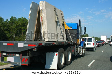 """""""Traffic jam"""" A major slow down on the highway. - stock photo"""
