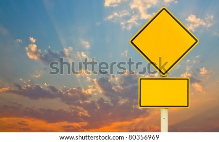 Traffic sign on sunset - stock photo