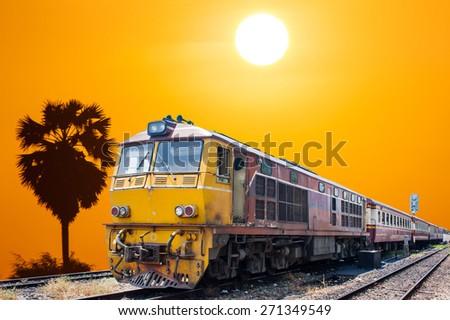 train on sunset  landscape  background  - stock photo