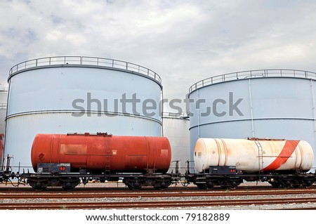 train wagons and oil and fuel storage tanks
