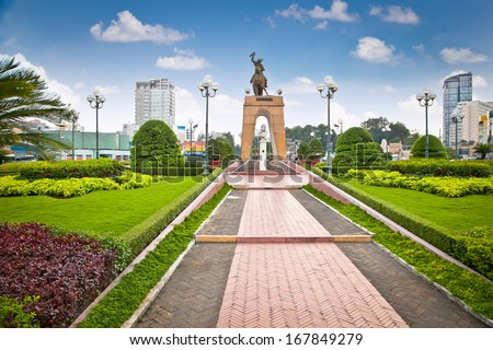 Tran Nguyen Han- Memorial at Cho Ben Thanh in Saigon, Vietnam. - stock photo