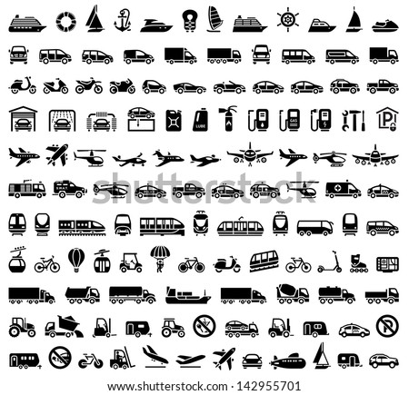 120 Transport icons: Cars, Ships, Trains, Planes. Vector version (eps) also available in gallery - stock photo