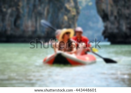 traveler kayaking in the thai ocean Blurry background - stock photo